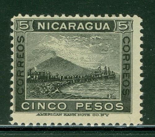 Nicaragua 1900-1905: Scott #133 MNG 5P Black Momotombo Volcano Train