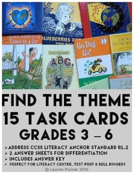 15 THEME TASK CARDS     Use for literacy centers  test prep or bell ringers   Fulfills common core standards R L 2   Perfect for differentiated materials   themetaskcards