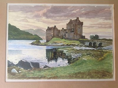Original watercolour painting Eilean Donna castle By G Hull. ( PRICED TO CLEAR)