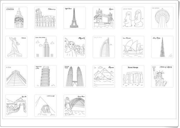 Grandes monumentos artísticos para colorear (Studyvillage.com)