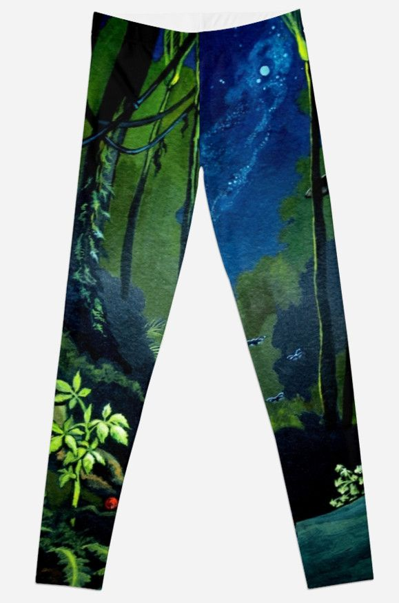 Silent Night in the forest with Milky Way and full moon - leggings.