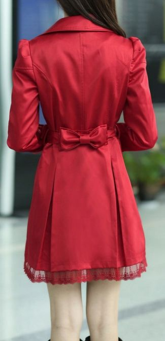 Lace Splicing Coat- red   dresslily.com