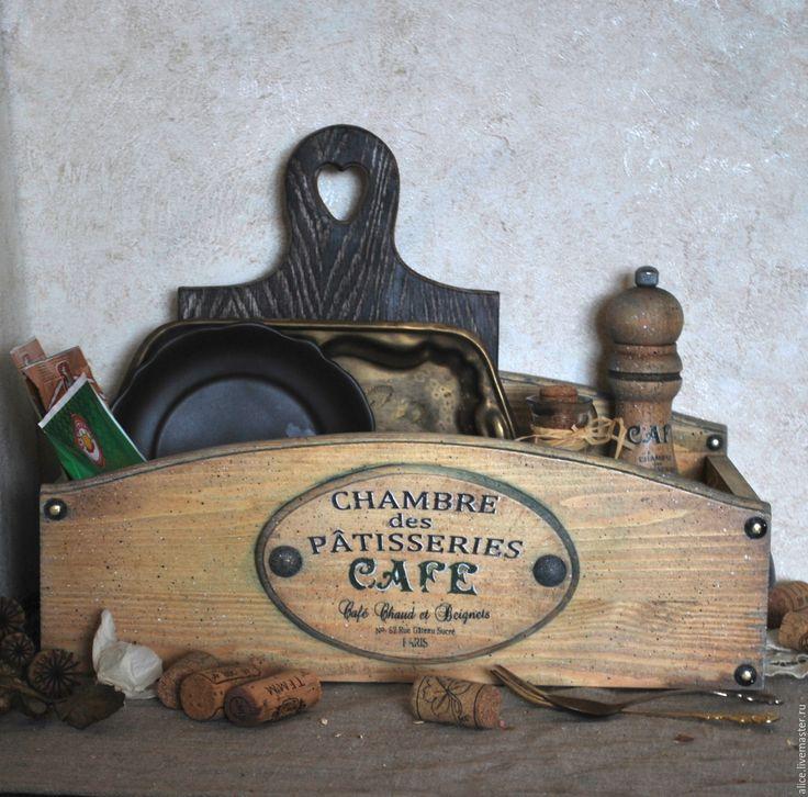Купить CAFE FRANCAIS органайзер кухонный - коричневый, подставка, органайзер, кухонный интерьер, кухонная утварь