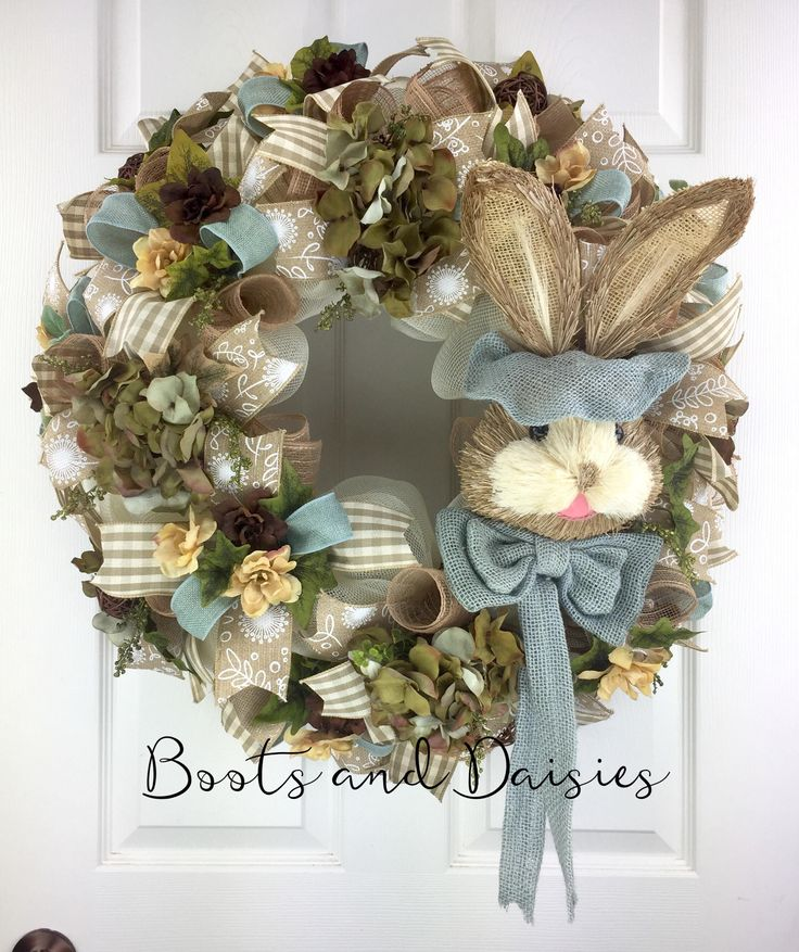 Easter Mesh Wreath / Bunny Head Mesh Wreath / Country Mesh Wreath for front door / Rabbit Mesh Wreath / Bunny Wreath / Spring Mesh Wreath by BootsAndDaisiesDecor on Etsy
