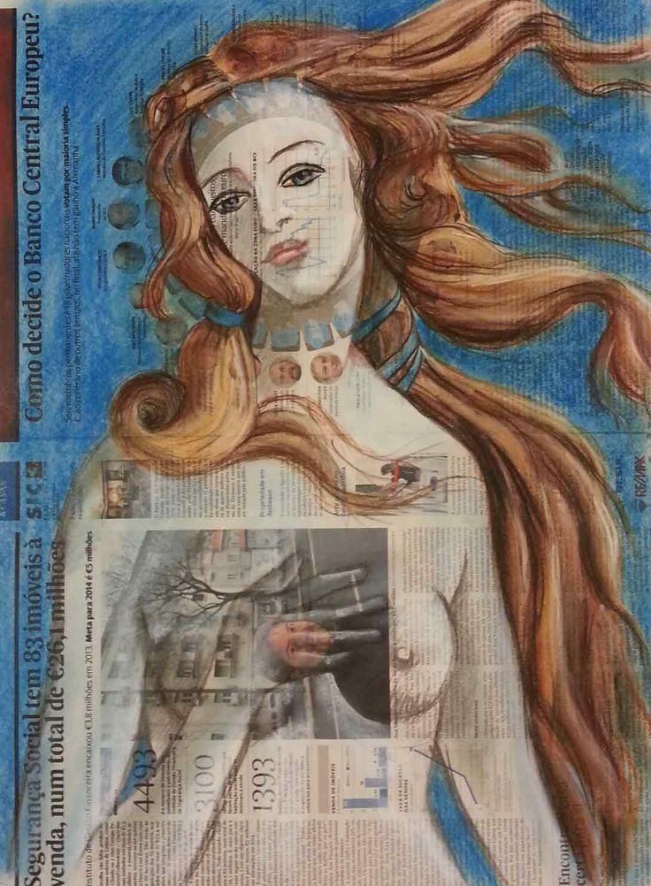 """""""Botticelli no jornal"""" Pastel seco_by Duda Correia"""