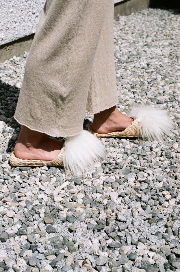 Image of Folk Fortune Straw Slippers - lamb wool shearling