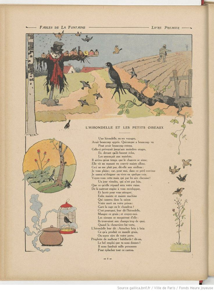 Illustration des fables de la Fontaine - L'Hirondelle et les petits oiseaux  - source BNF - Gallica