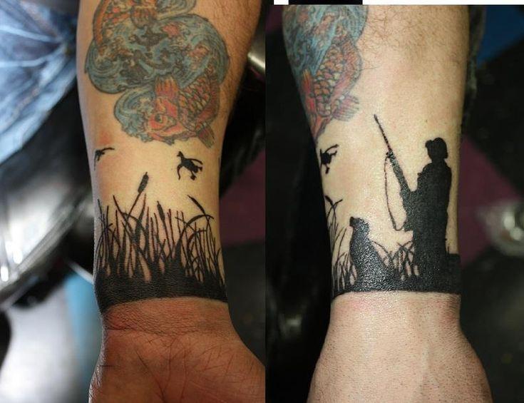 duck hunting wrist tattoo | Black Ink Duck Hunting Tattoos On Wrist