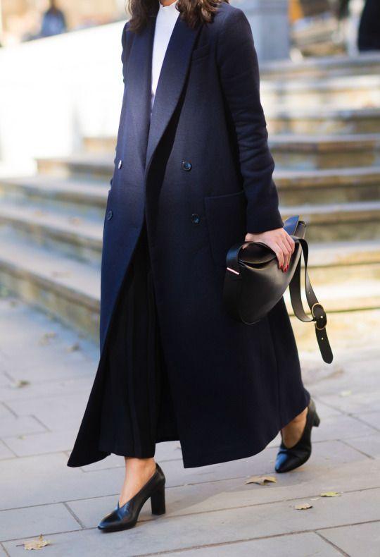 @andwhatelse / extra long oversized black wool jacket / cold weather fashion