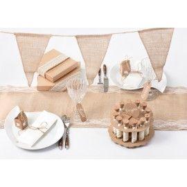 Banderole fanions toile de jute naturelle 3 M  Déco anniversaire, mariage, wedding et fêtes