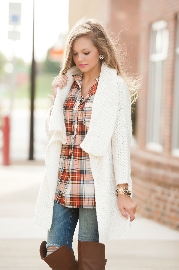 plaid & chunky sweater #swoonboutique