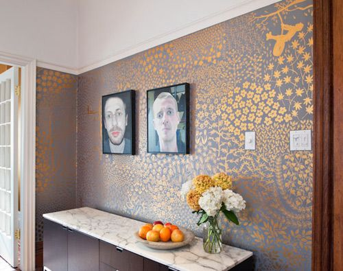 Dining room walls painted freehand over the course of a year!: House Design, Hands Paintings Wall, Paintings Rooms, Interiors Design, Handpaint Wall, Grey Wall, Gold Wall, Dining Rooms Wall, Wall Design
