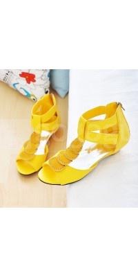 2011 lieve lage hakken gele sandalen voor vrouwen - Damesschoenen - Schoenen