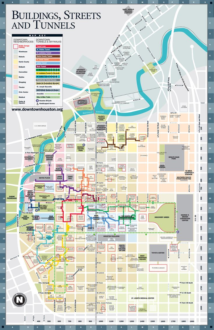 A Detailed Map Of The Underground Tunnel System Beneath Downtown - Map of houston hotels downtown