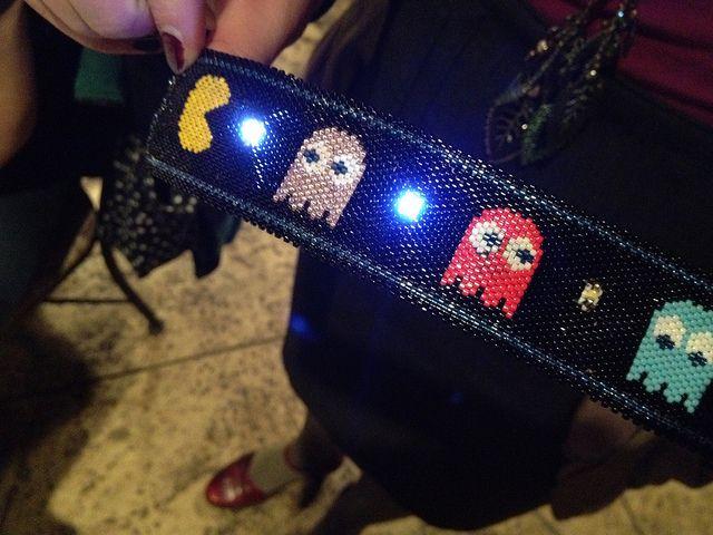 Jenny Shu's electronic beading bracelet with LEDs and Aniomagic schemer.  (2011) via Craft #LED #accessory #HandWeaversGuild