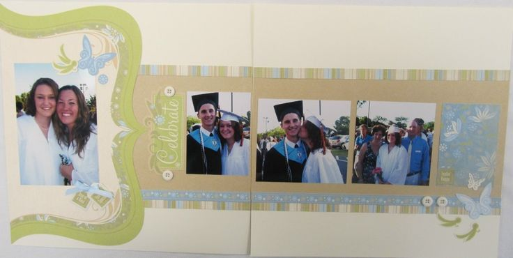 Graduation Scrapbooking Pages - Here are some layouts to help you with ideas for your High School Graduation Scrapbooks. There is one double layout with pocket pages for holding programs, tickets, and photos.
