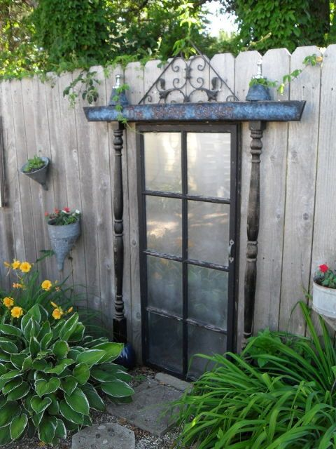 garden salvage, flowers, gardening, painting, repurposing upcycling, My door is flanked with my funnel planters