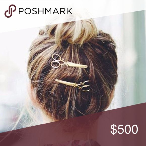 Scissors Hair Clip 2  Pieces Available in gold and silver.  Bobby pins. Accessories Hair Accessories
