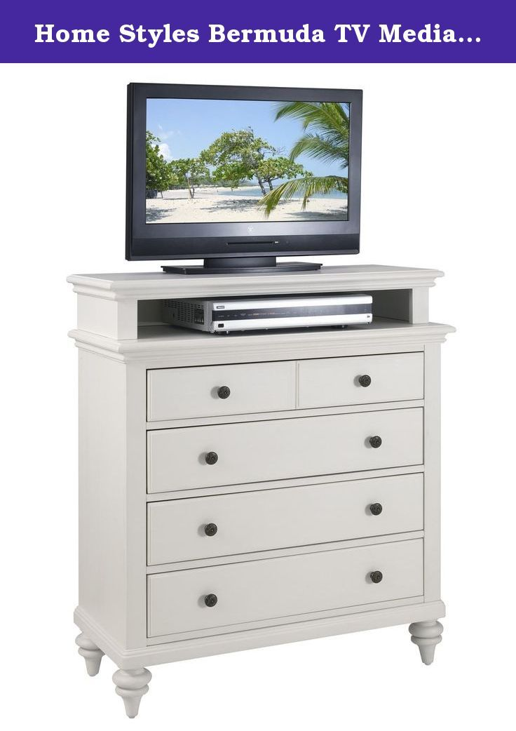 Home Styles Bermuda TV Media Stand, White Finish. Inspired by the fusion of british traditional and old world tropical design, the bermuda collection highlights mahogany solids and engineered woods brushed white finish. Deep textured brushed stroke finish enhances the overall beauty of this luster white finish. Further inspiration can be found in the shutter style design and turned feet. Media chest features four storage drawers with the top storage drawer lined in black felt. Size…