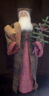 Handmade Primitive Santa Doll in Plaid Coat with A Heart and Christmas Tree | eBay