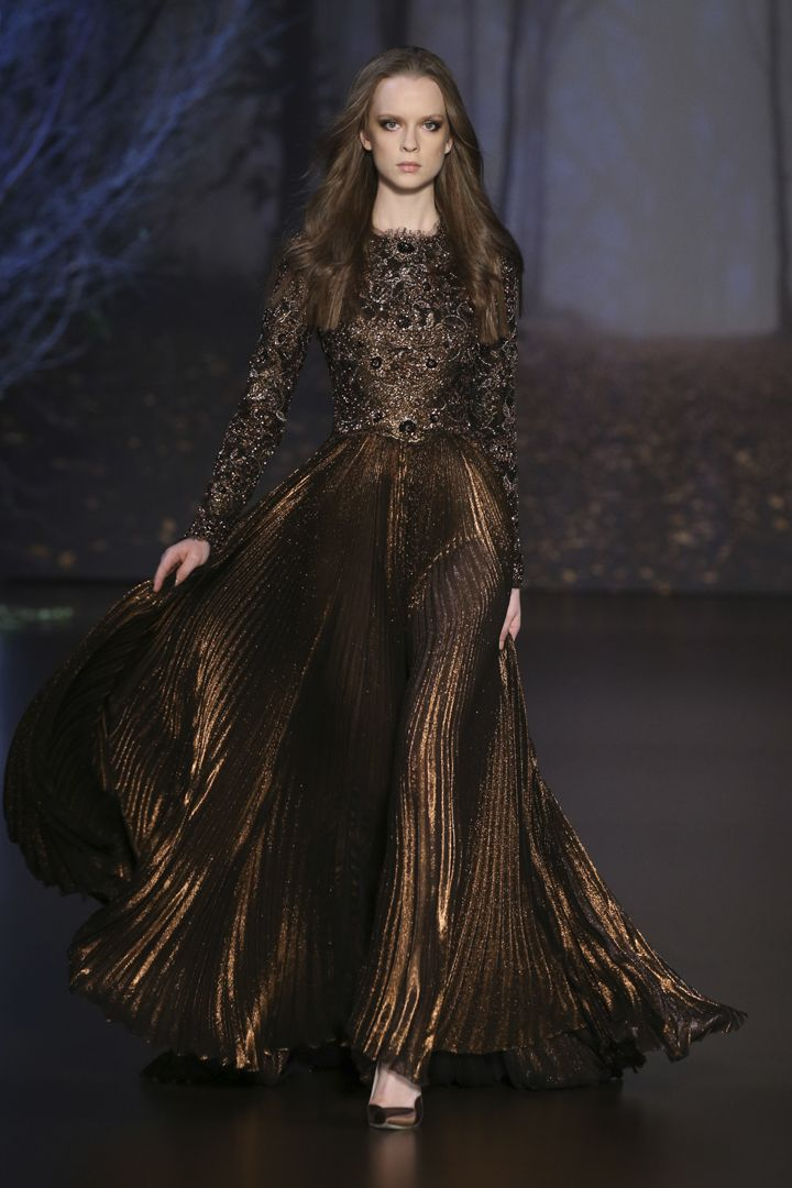 Ralph & Russo - Chic Brown Beaded Long Sleeve Bodice and Pleated Satin Gown