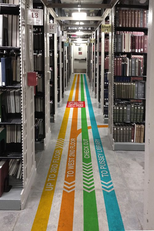 #signage #wayfinding #system #design #interior #library floor #graphics #lines #linear #yellow #orange #green #blue #sign #follow #line