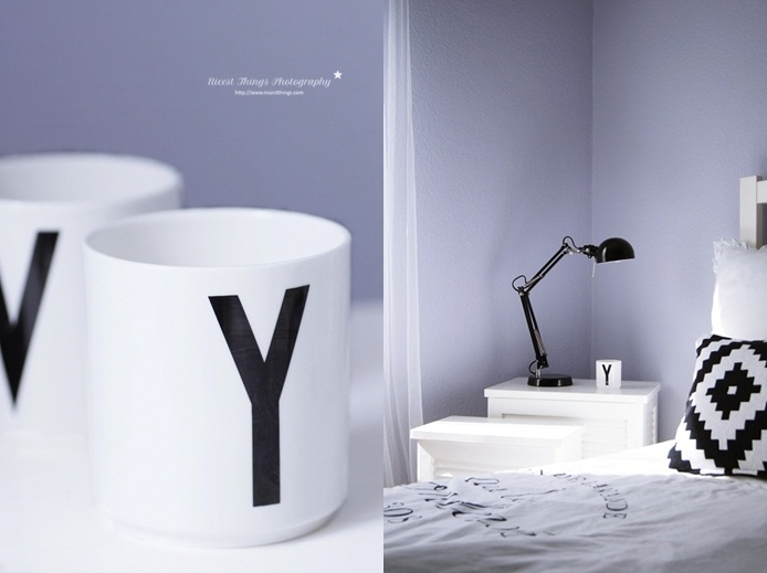 * Nicest Things: Nordic Style Bedroom blackwhite greyblue lavender designletters