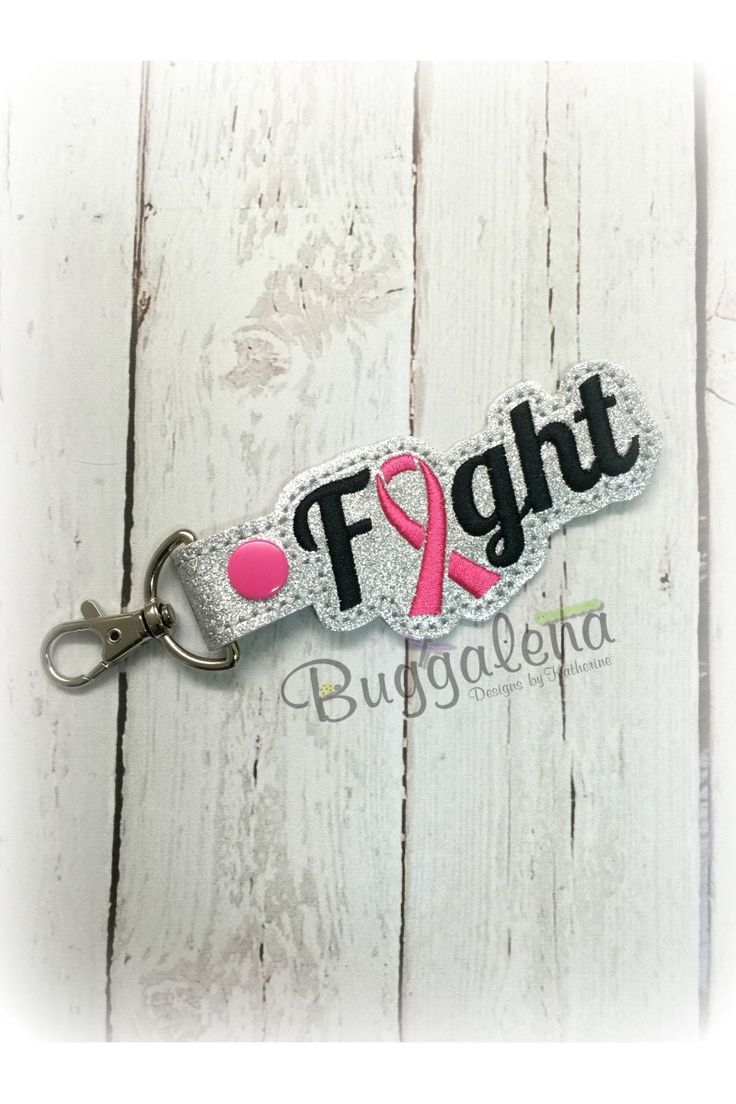Fight Word Snap Tab Key Fob Embroidery Design
