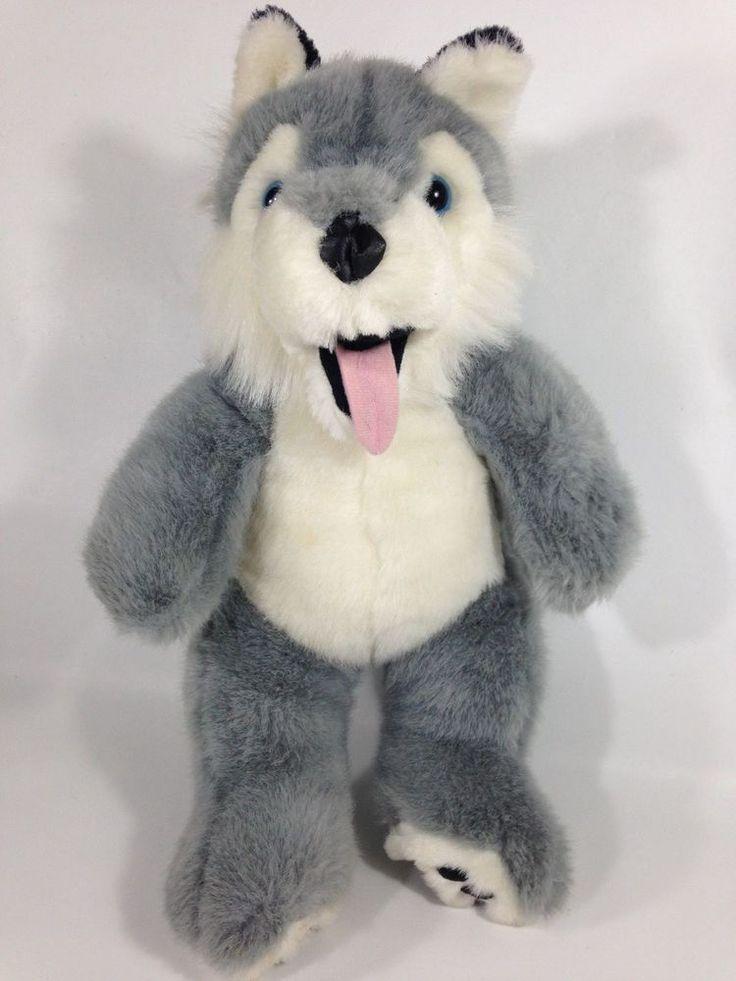 "Husky Puppy Dog Plush Animaland 2006 Grey White Wolf Stuffed Animal Plush 15"" #animaland"