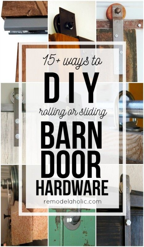 Budget-friendly and inexpensive methods for making your own rolling or sliding barn door hardware @Remodelaholic #ShutTheFrontDoorDIY