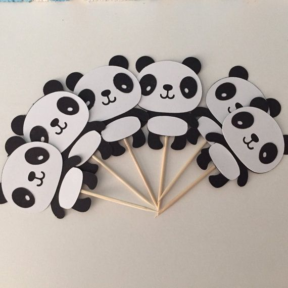 Panda Cupcake Toppers Panda Party by StinkyToesCreations on Etsy