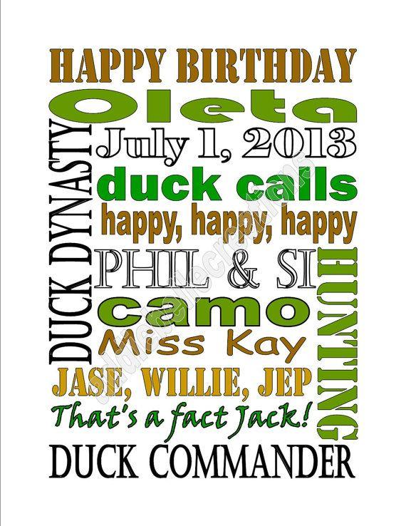 DIY Printable Duck Dynasty Birthday Subway Art Sign
