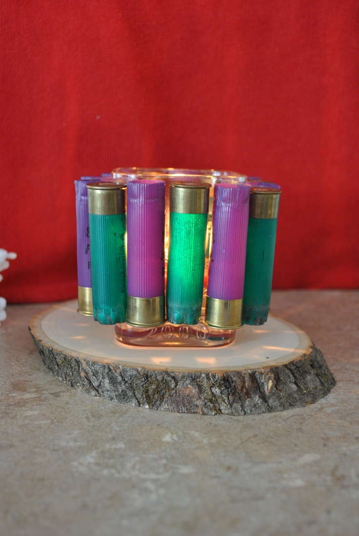 Shotgun shell candle holder ~ super easy and fun! looked great at our banquet