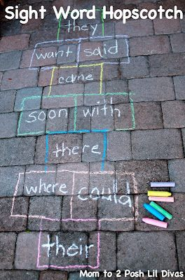 Learn through play with Sight Word Hopscotch (change to suit your learning needs - letters, numbers, vocabulary, colors, etc) great for multi-ages and usesGross Motors, Sight Words, Words Games, Gross Motor Skills, Outdoor, Motors Skills, Sight Word Games, Spelling Words, Words Hopscotch