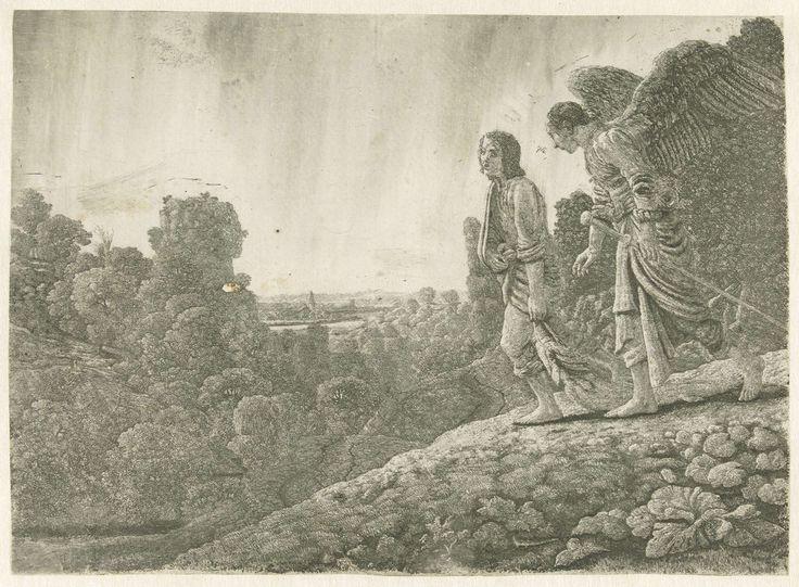 Hercules Segers | Tobias en de engel, Hercules Segers, Adam Elsheimer, Hendrick Goudt, c. 1615 - c. 1630 | Tobias, een vis met zich meeslepend, lopend samen met een engel op een heuvel door een landschap.