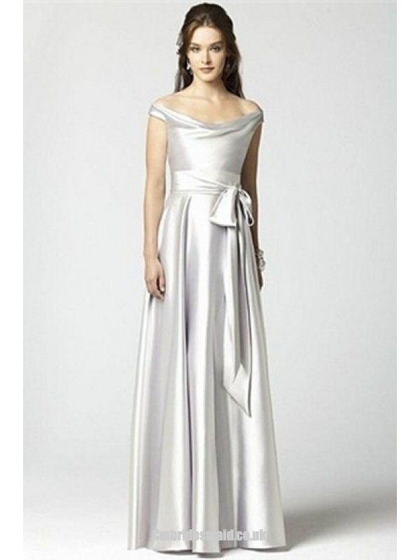 2013 sweet bridesmaid dress Ivory Floor-Length Elastic Woven Satin Off-the-shoulder Uk Bridesmaid Dress fashionweddingdress