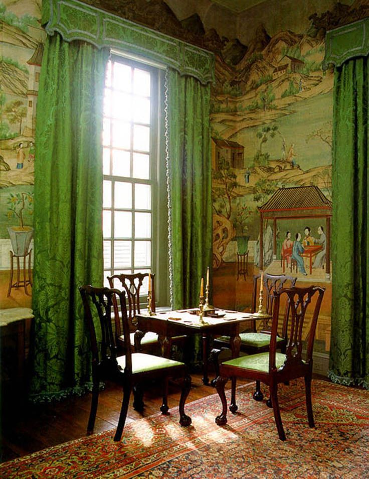 Chinese parlor, Winterthur Museum.  Example of 18th Century Chinoiserie design with wall murals depicting Chinese landscapes and the use of Chippendale chairs.