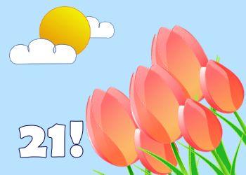 vrolijke tulpen voor een 21ste verjaardag