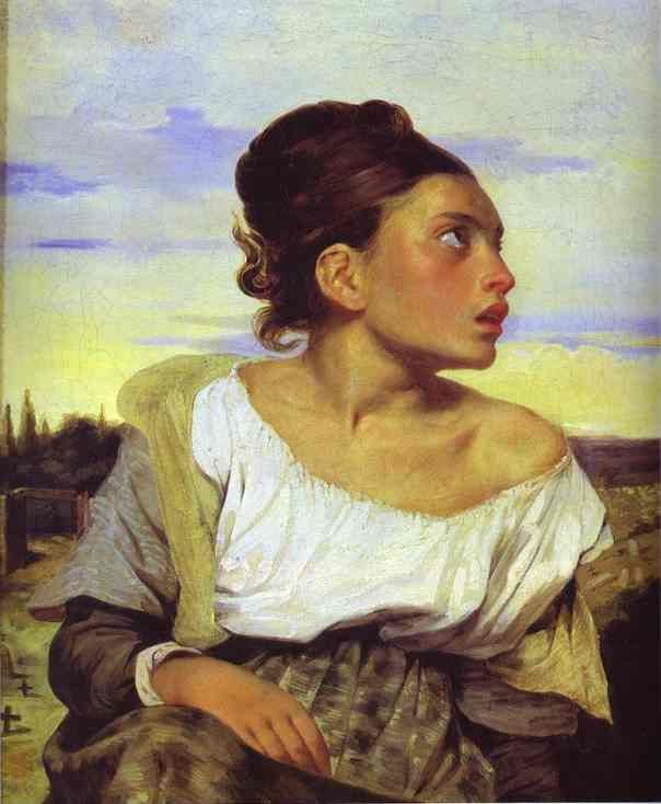 'Girl Seated in a Cemetery' by Eugene Delacroix. Delacroix (1798-1863) was a French Romantic artist regarded from the outset of his career as the leader of the French Romantic school. Delacroix's use of expressive brushstrokes and his study of the optical effects of colour profoundly shaped the work of the Impressionists, while his passion for the exotic inspired the artists of the Symbolist movement. Delacroix took for his inspiration the art of Rubens and painters of the Venetian…