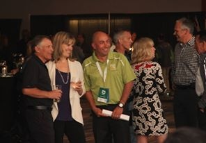 Michelle Taggart with Jim Robinson (left) and John Halvorsen (right) at the 2013 Tamarack Ottawa Race Weekend President's Reception.