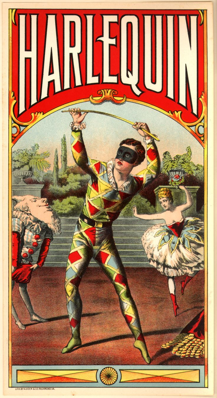 Harlequin. Vintage tobacco poster (1938). Watson & McGill. Color lithography. Illustrator–A. Hoen & Co., Richmond, Virginia. Harlequin is the most popularly known of the zanni or comic servant characters from the Italian Commedia dell'arte and its...