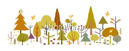 森 動物 木 緑 秋 紅葉 イラスト-写真素材