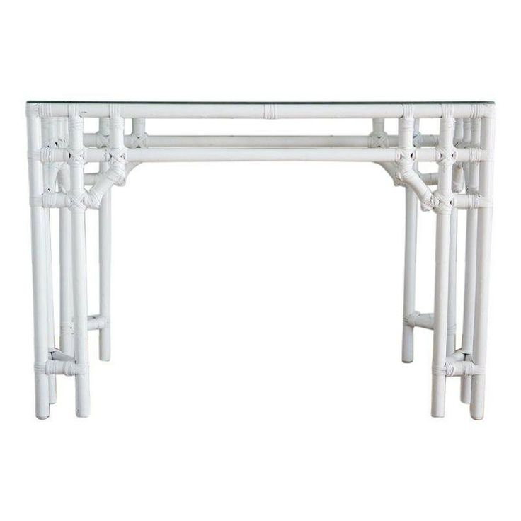 Painted White Rattan Console Table   $575 On Chairish.com | Orange U0026 Pink  Office | Pinterest | Rattan, Console Tables And Consoles