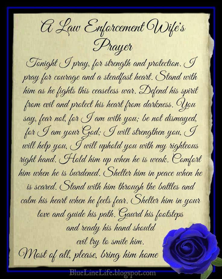 Law Enforcement Wife's Prayer BlueLineLife.blogspot.com