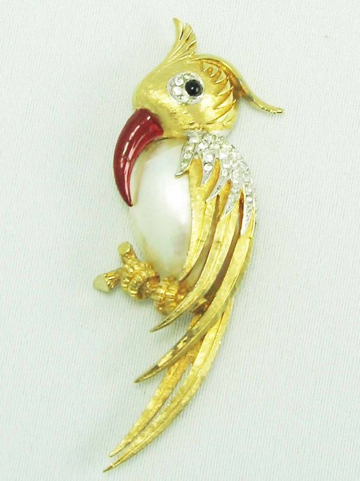 RARE!!!  Genuine signed MARCEL BOUCHER shell belly Gold Bird Parrot brooch 1961 #MarcelBoucher