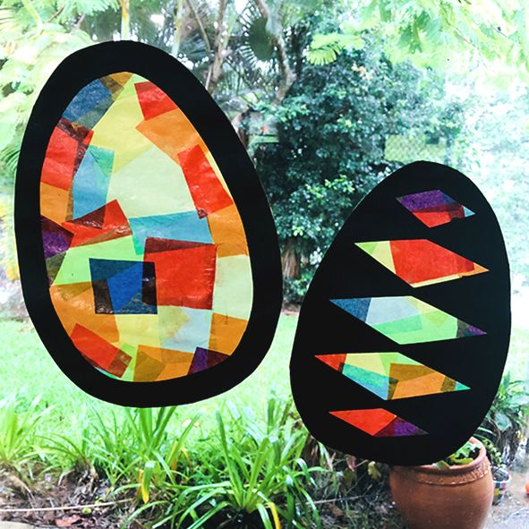 """Click on the tab """"Art Projects"""" and follow the link to create your own colourful Easter eggs!"""
