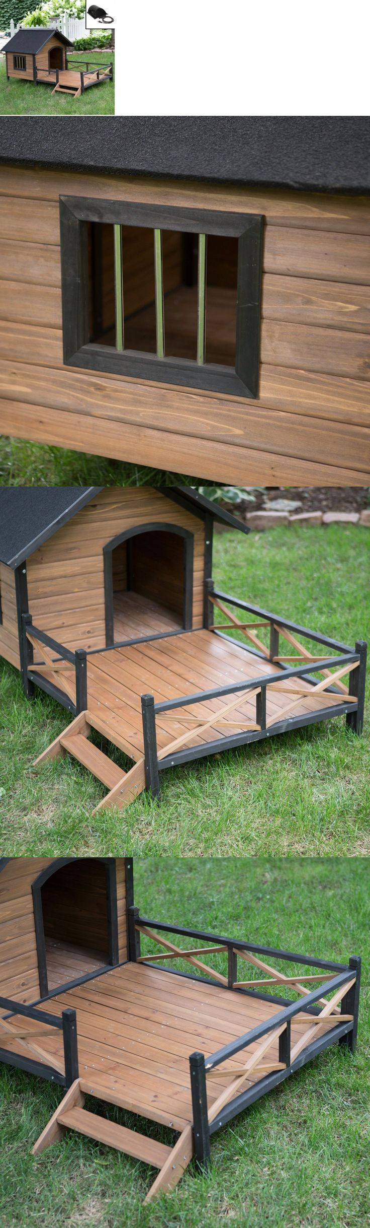 Dog Houses 108884: Large Dog House With Porch And Heater Pet Kennel Deluxe Rustic Wooden Heated -> BUY IT NOW ONLY: $338.98 on eBay!