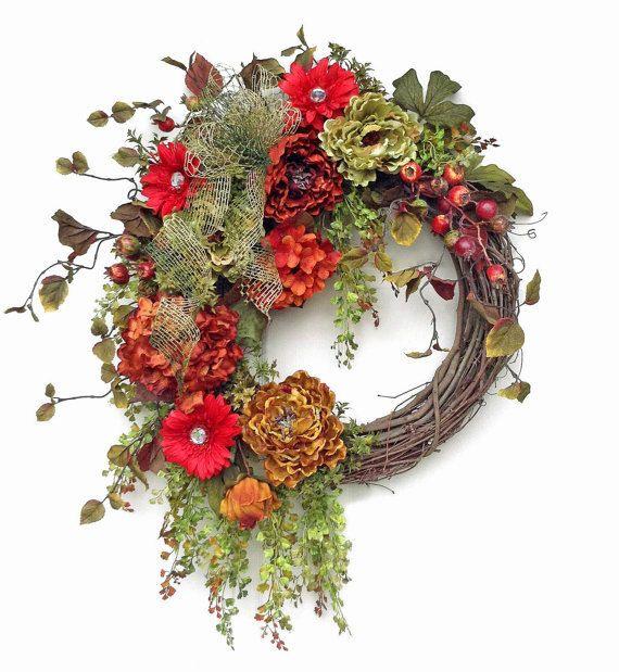 XL Sparkling Fall Wreath, Fall Decor, Fall Wreaths for Door, Autumn Decor, Autumn Wreath,Outdoor Wreaths,Front Door Wreaths,Fall Door Wreath on Etsy, $145.50