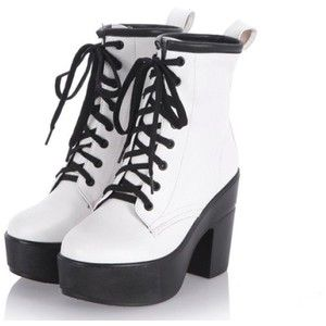 Amazon.com: KEXIN Women Ladies Punk Lace up Platform Motorcycle Chunky High Heel Ankle Boots Shoes (US8=UK6, White): Shoes