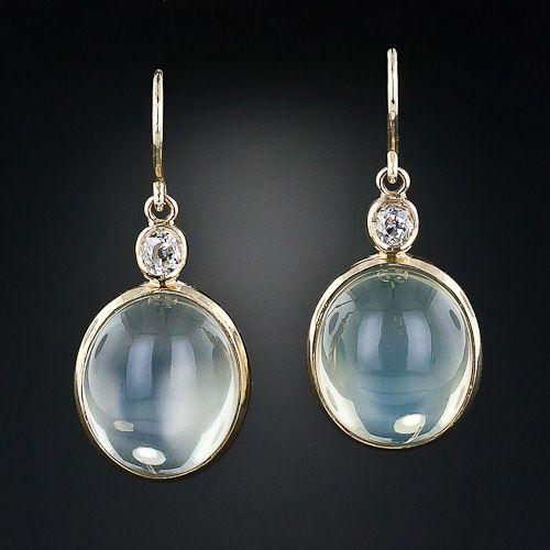 Moonstone and Diamond Dangle Earrings - Lang Antiques
